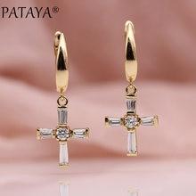 PATAYA – boucles d'oreilles pendantes en zircon naturel pour femmes, bijoux mignons, en or Rose, nouvelle croix religieuse, pour fête de mariage, à la mode, 585
