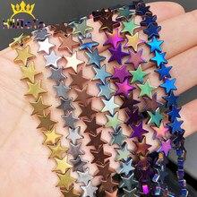 Doğal Taş Pentagram Altın Gümüş Hematit Boncuk Yıldız Gevşek halka boncuk Takı Bilezik Yapımı Için 4-10MM Diy Charm bilezik