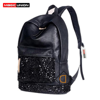New 2016 Fashion Women Backpack Big Crown Embroidered Sequins Backpack Wholesale Women Leather Backpack School Bags