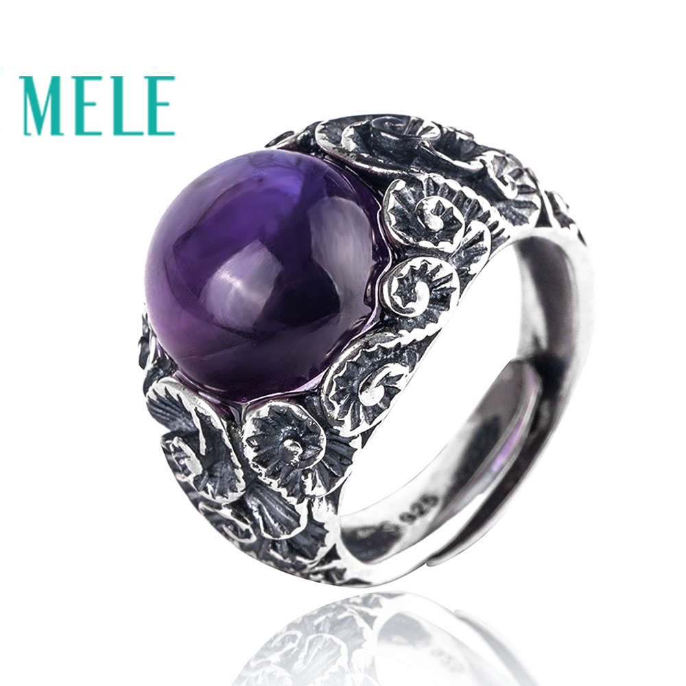 Natural amethyst 925 sterling silver rings for women and man,13mm round cut gemstone with vintage carving Statement Jewelry