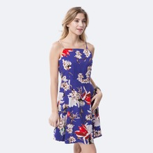 Dioufond Women Sling Dress Retro Vintage Vestidos Slash Neck Print Dresses Spaghetti Strap Vestido Autumn Sleeveless Dress Women