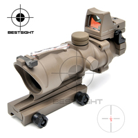 Outdoor Sports Trijicon ACOG 4X32 Tan Tactical Real Fiber Optic Red Illuminated W RMR Micro Red