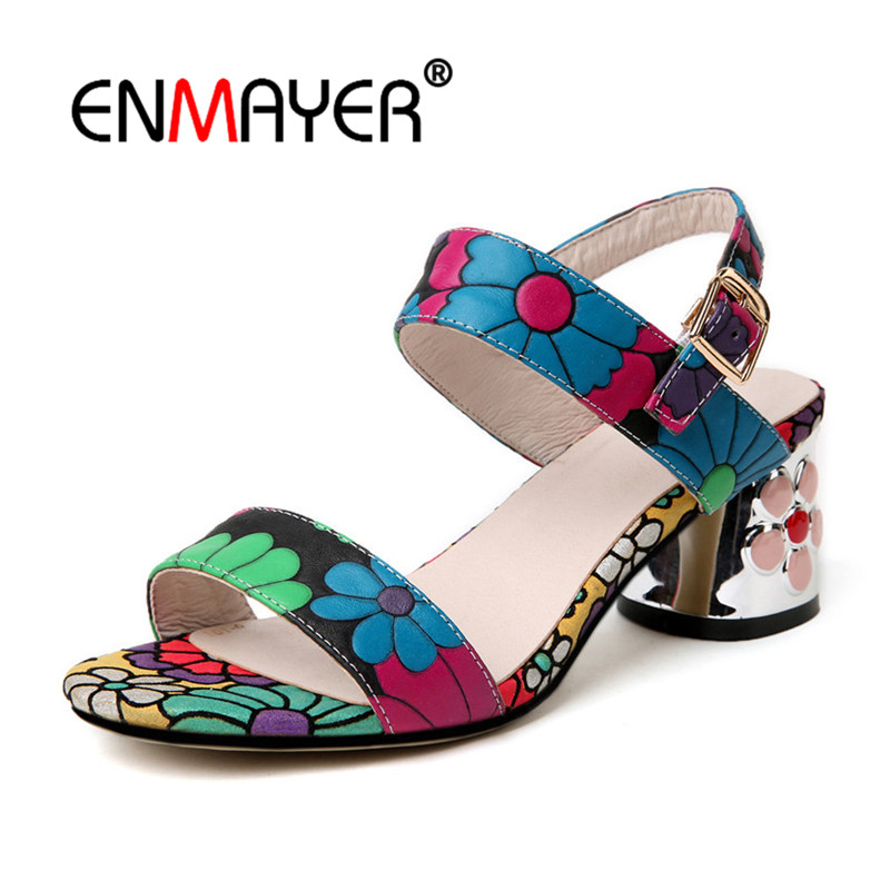 ENMAYER Flowers Med heels Summer Sandals Fashion Shoes Ankle-strap Party Peep Toe Med Heel Casual Shoes Women sandals CR835 sorbern white beading ankle strap cute flowers wedding shoes med heels bridal shoes wholesale women shoes party and evening shoe