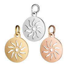 5pcs/lot 316L Stainless Steel Gold Silver Rose Color Highly Polished Hollow Out Sun Charm Pendant for DIY Jewelry Making