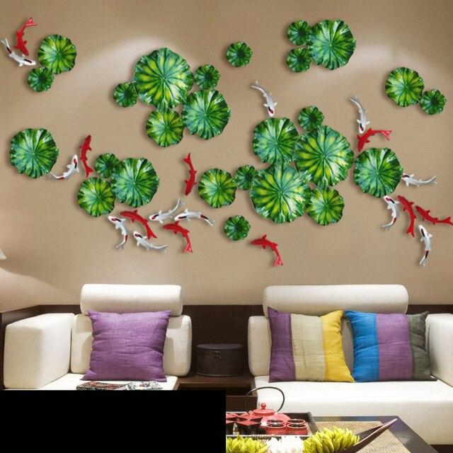 Листьев лотоса рыбы отделка стен 3d стерео ТВ Задний план Гостиная стене висит ремесел Творческий дом украшение Home настенная