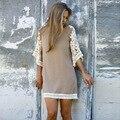 Nueva Moda 2016 Primavera Verano Otoño Estilo Europeo Ocasional de la Playa de Las Señoras de Media Manga Del O-cuello Vestido de Encaje de la Mujer Crochet