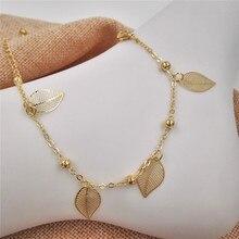 New tassel leaf Anklet Bracelet for women Gold chain on the leg girl foot bracelet jewelry