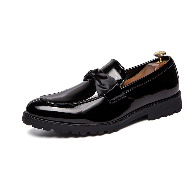 formal men leather shoes male trend Bow slip on footwear cool italian luxury brand wedding dress moccasins oxford shoes for men (40)