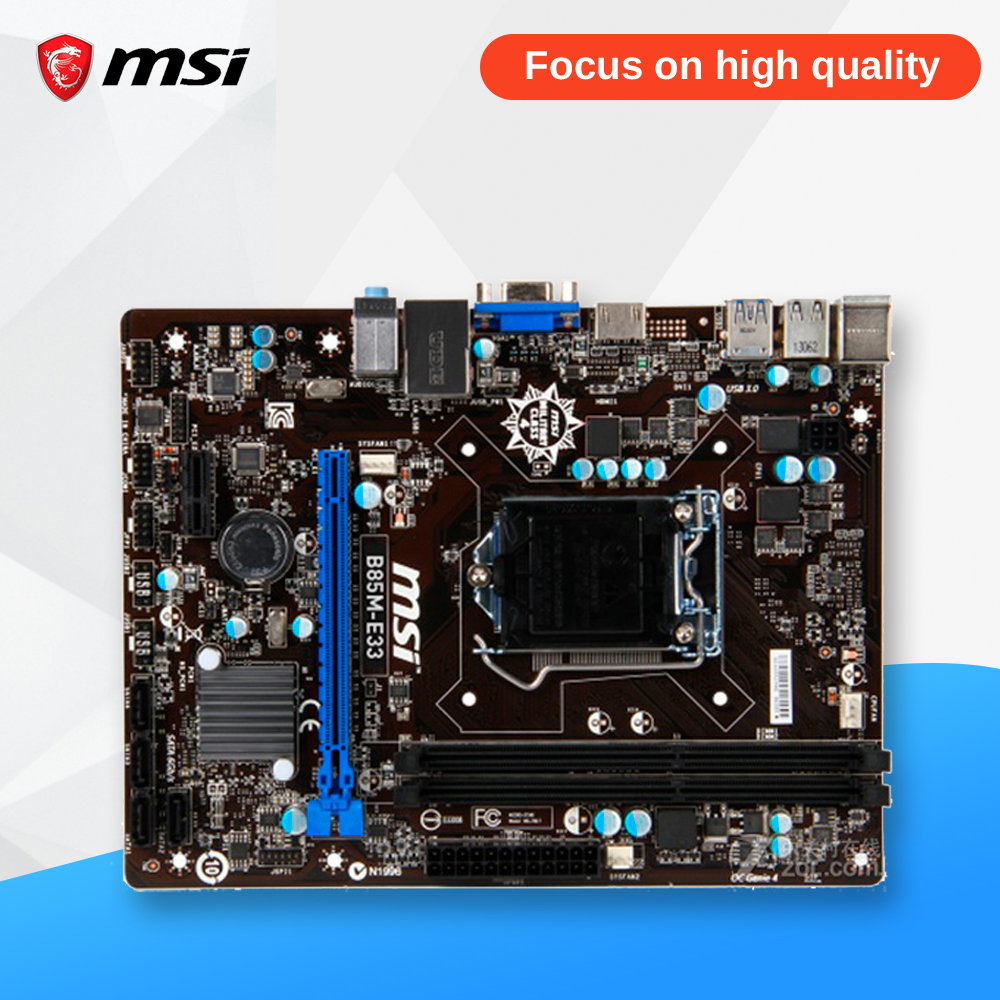 MSI B85M-E33 Original Used Desktop Motherboard B85 Socket LGA 1150 i3 i5 i7 DDR3 32G SATA3 USB3.0 Micro-ATX asus b85m e desktop motherboard b85 socket lga 1150 i3 i5 i7 ddr3 32g atx uefi bios original used mainboard on sale