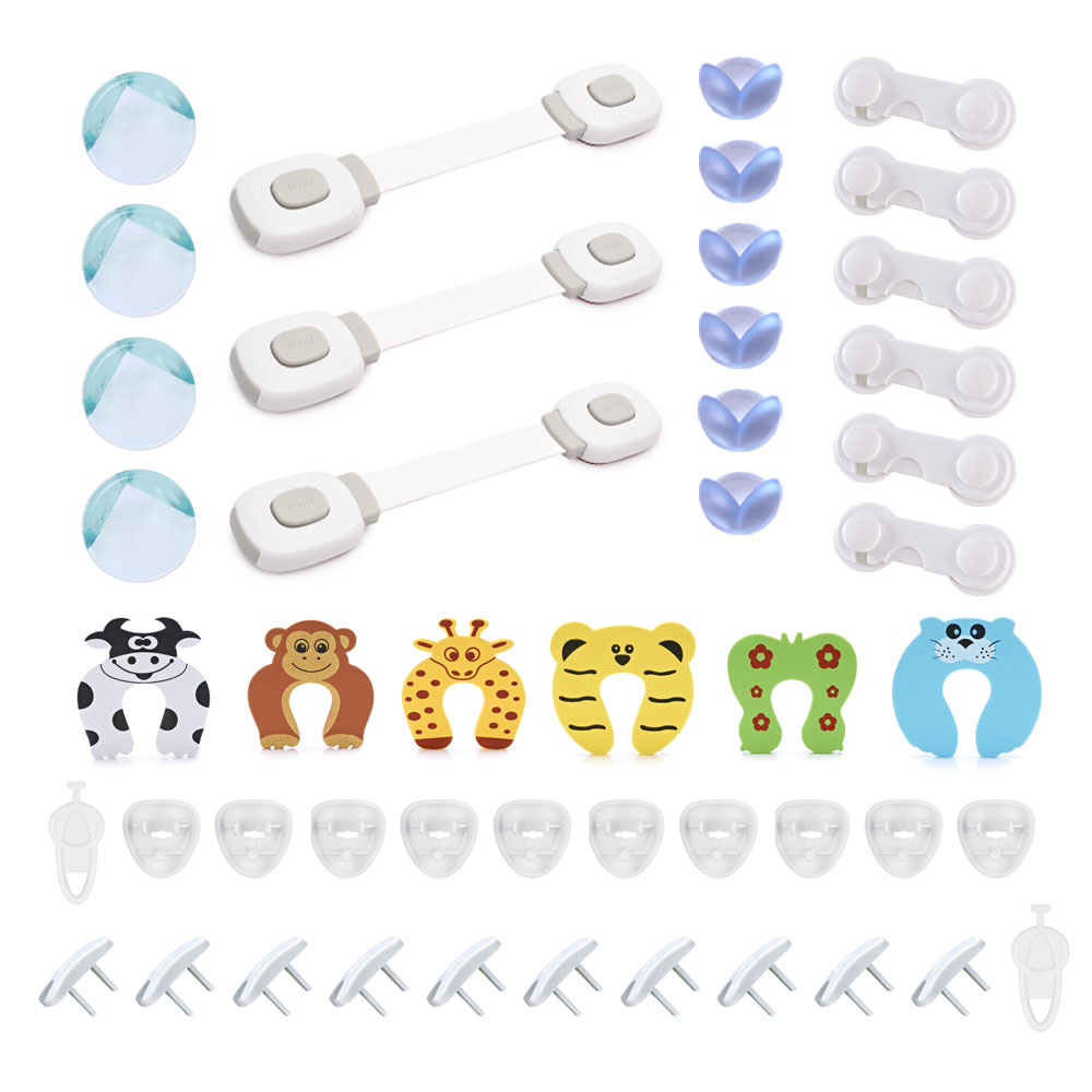 Baby Safety Cabinet Locks Drawer Locks Corner Protector US Plug Cover Set For Protecting Children In Home