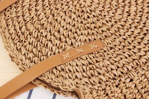 Round Straw Beach Bag Vintage Handmade Woven Shoulder Bag Raffia circle Rattan bags Bohemian Summer Vacation Casual Bags 6