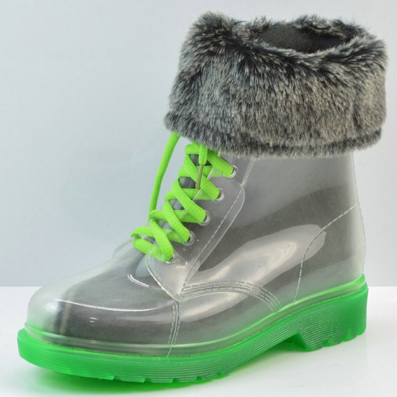 Rain boots, women with short boots, the new 2016 transparent waterproof boots, ms antiskid rubber boots boots