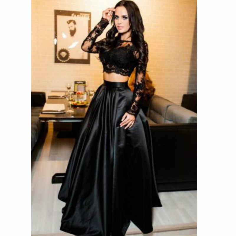 8c4202b06abcf ... hirigin Women Vintage Lace Dress Sexy black Long Sleeve O-neck  Christmas Party Prom Gown ...
