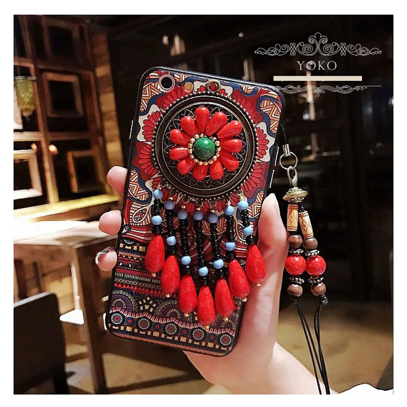 Retro totem national style iphone7plus XS MAX XR mobile phone shell X luxury 8P anti fall lanyard 6S women literature art case