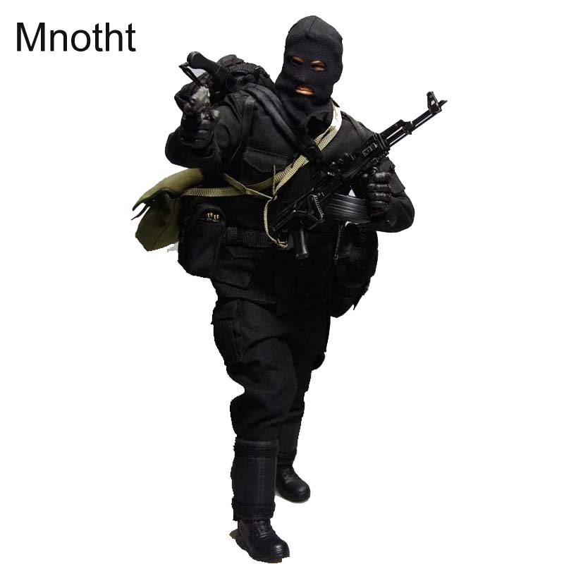 Mnotht 1/6 Male Solider Bank Robbers Suit Set Clothes For 12in Action Figures With Mask Gloves Shoes Pants l30 Collections Bags