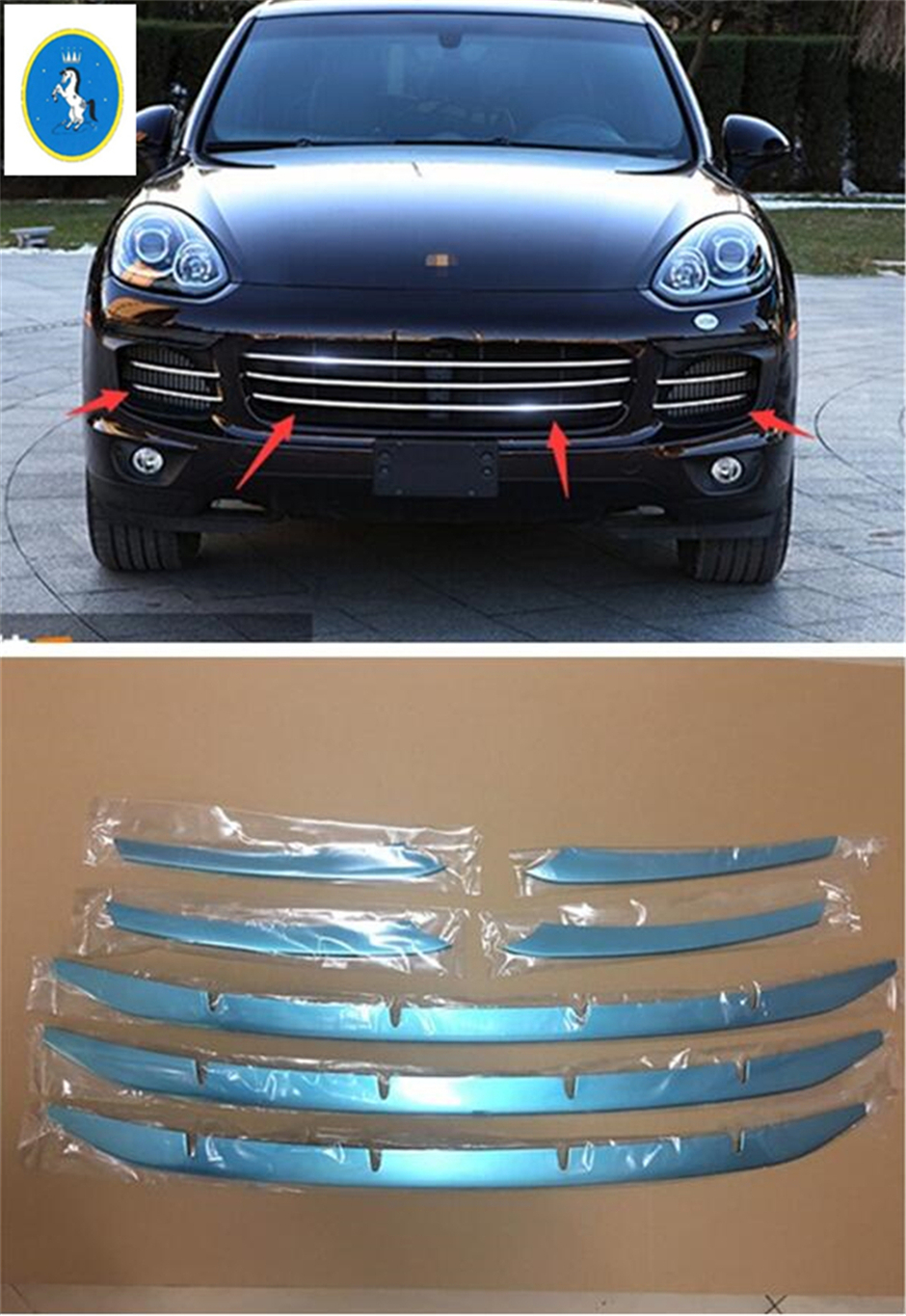 More Fashion ! For Porsche Cayenne 2015 2016 Front Middle Face Center Grills Grill Cover Trim Molding Garnish 7 Pcs / Set accessories for porsche cayenne 2015 2016 front head center grille grill lid decoration molding cover kit trim 7 pcs