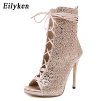 Eilyken 2019 New Sexy Silk Narrow Band Women Boots Sandals Peep Toe high heels 12CM Lace Up Ankle Booties size 35 40