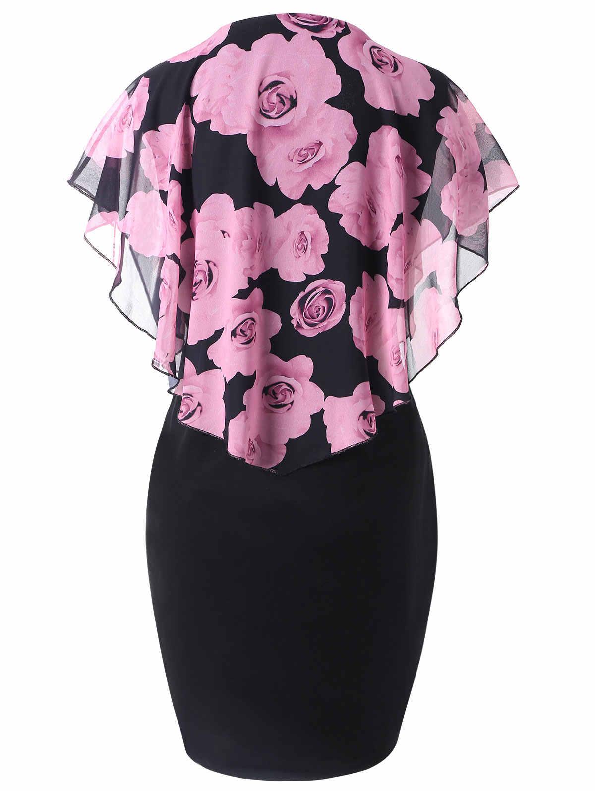 Vestido de verano para mujer Wipalo de talla grande 5XL rosa de San Valentín Capelet ropa gasa elegante Midi fiesta lápiz Vestidos