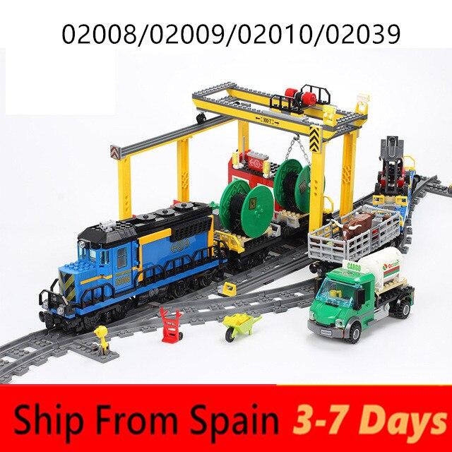 Blocs de construction ville Cargo Train ensembles Technic moteur passager RC Trains piste briques 60052 60098 60051 jouets éducatifs pour les enfants
