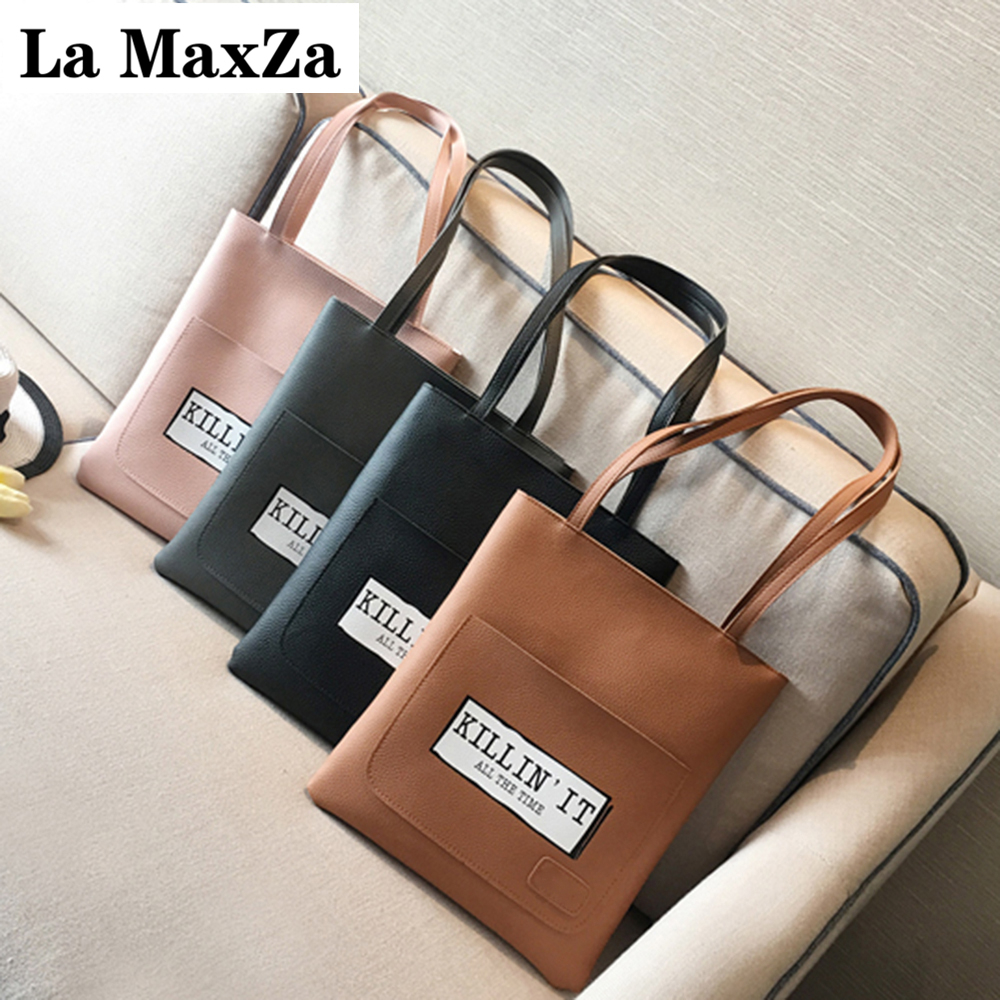 La MaxZa 2017 Simple Personality Shoulder Bag Wild Female Bale Vertical Section Mother PU Leather Handbag Large Capacity 375