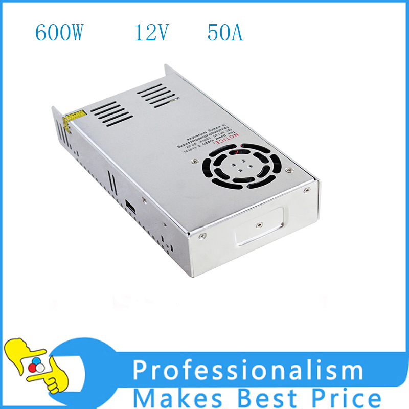 High Quality 12V 50A 600W Switching Power Supply Driver for LED Strip AC 100-240V Input to DC 12V 1200w 12v 100a adjustable 220v input single output switching power supply for led strip light ac to dc