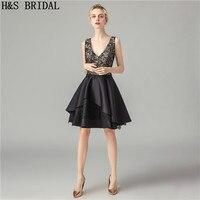 H&S BRIDAL V Neck Black Cocktail Dresses Lace Cocktail Party Dress With Straps robe de soiree