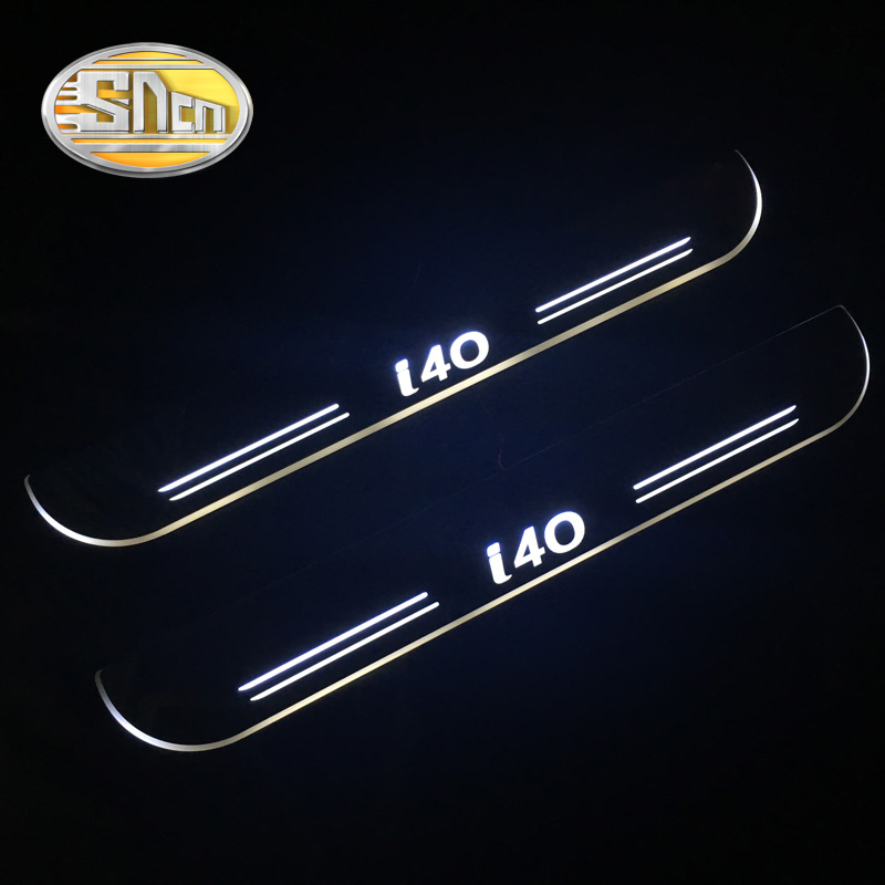 SNCN Waterproof Acrylic Moving LED Welcome Pedal Scuff Plate Pedal Door Sill Pathway Light For Hyundai I40 2014 2015 2016 2017