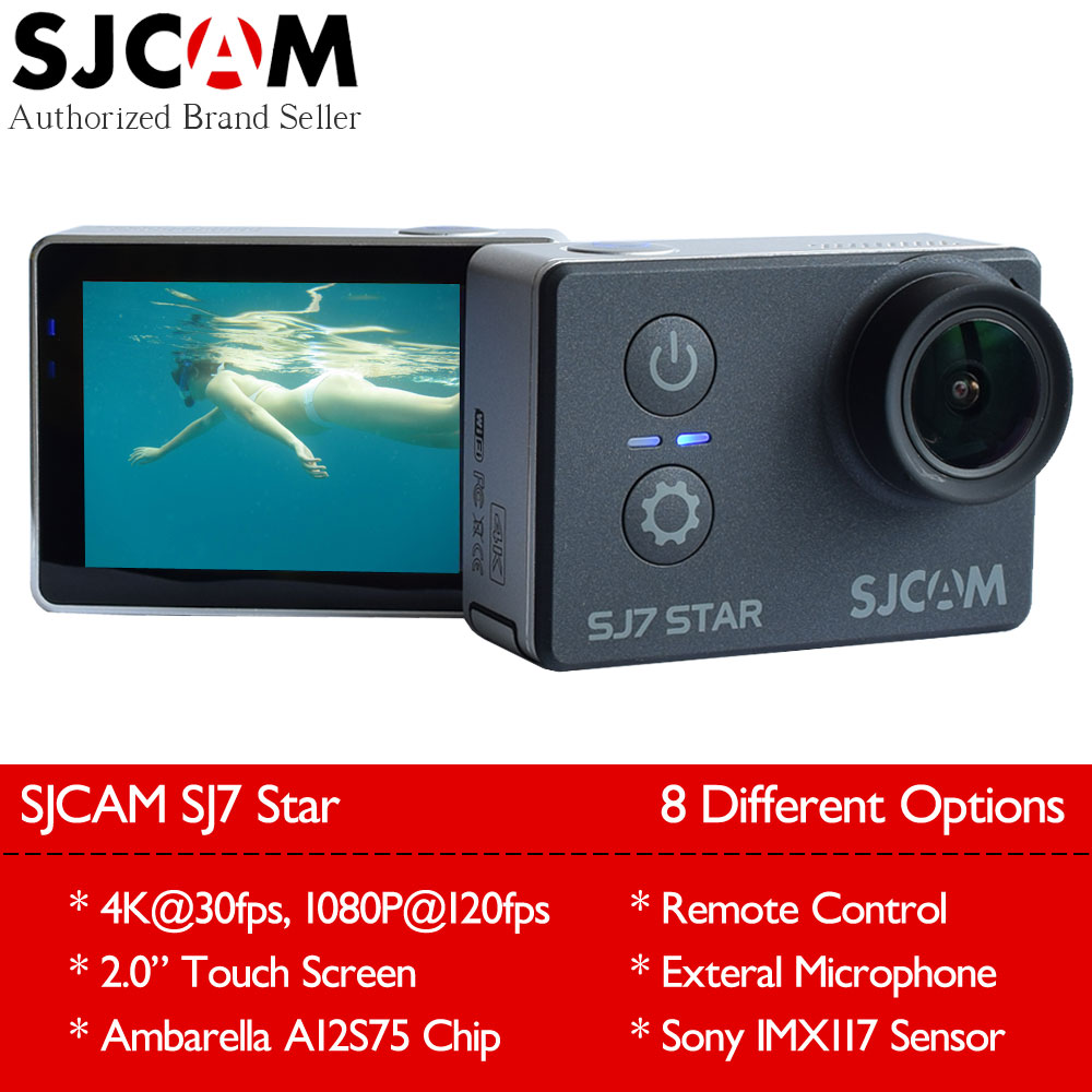 Original SJCAM SJ7 Star 4K 30fps Wifi Action Camera Gyro 2.0 Touch Screen Ambarella A12S75 Ultra HD Waterproof Sport DV SJ Cam