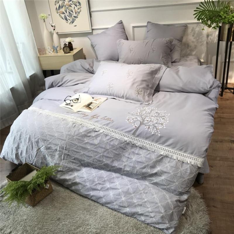 Luxury Tencel Cotton Linen Pastoral Bedding Set Embroidery Lace Breathable Duvet Cover Bed Sheet Pillowcase Queen King Size 4pcs
