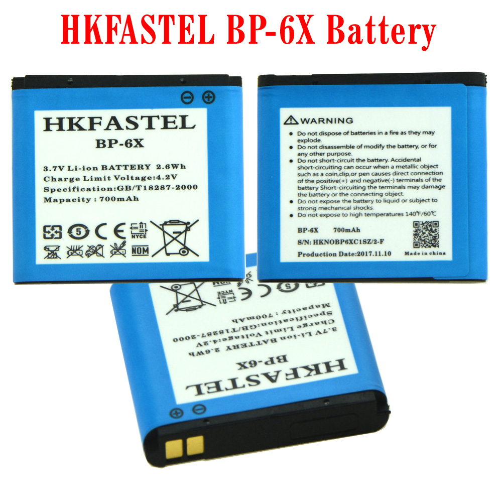 HKFASTEL New BP-6X BP 6X Li-ion Mobile Phone Battery For Nokia 8800 8860 8800 Sirocco N73i Cell phone Batteries