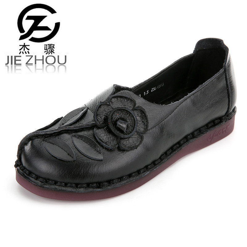 2016 new fall Handmade Genuine leather flat heel Women shoes Round toe lace casual shoes Retro Wide head Women Shoes