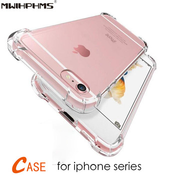 Shockproof clear Silicone Transparent TPU Case For iphone7 8 7/8plus Phone Cover on for iphone6 6plus 5 5s se case Soft bag image