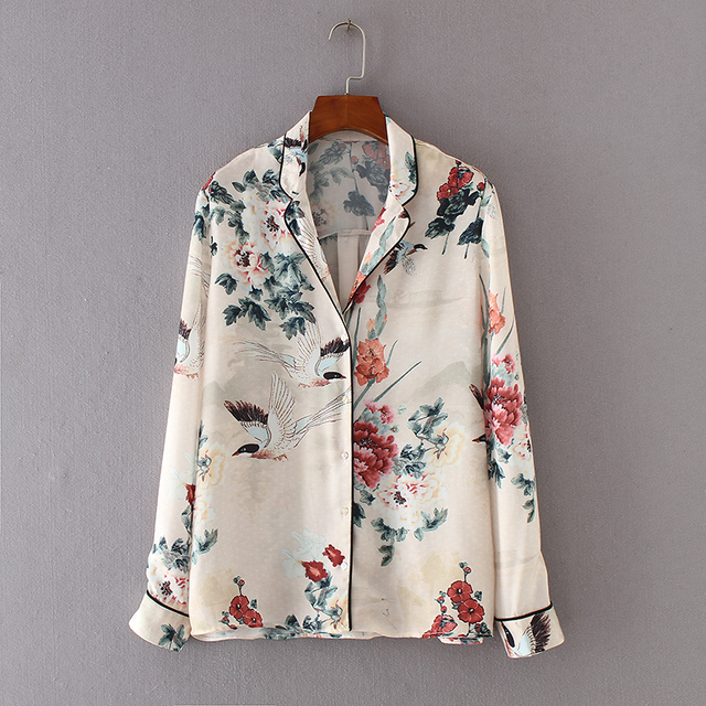 2f3feeb25b 2017 Autumn Women Birds Floral Print Satin Blouses Turn-down Collar Long  Sleeve Casual Brand Shirt Female All-Match Tops Blusas