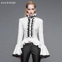 Retro Victorian Gothic Blouse Women Black/White Long Flare Sleeves Stand Collar Shirt SHT01701