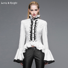 Retro Victorian Gothic Blouse Women Black/White Long Flare Sleeves Stand Collar Shirt SHT01701