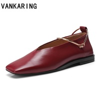 VANKARING womens nude shoes ladies genuine leather flat shoes fashion hand made leather loafers female dress shoes women flats