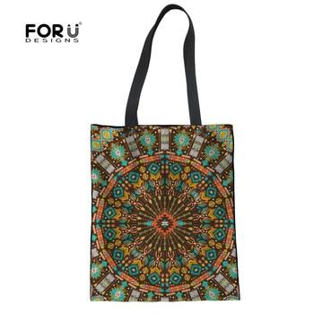 cf63f7aab5e7 FORUDESIGNS Винтаж Африканский Лен повседневное женские сумки Ретро узор  большая сумка для покупок дамы прочный журнал