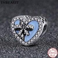 Authentic 100% 925 Sterling Silver Faith Cross & Sweet Bowknot Heart Shape Beads fit Women Charm Bracelet jewelry