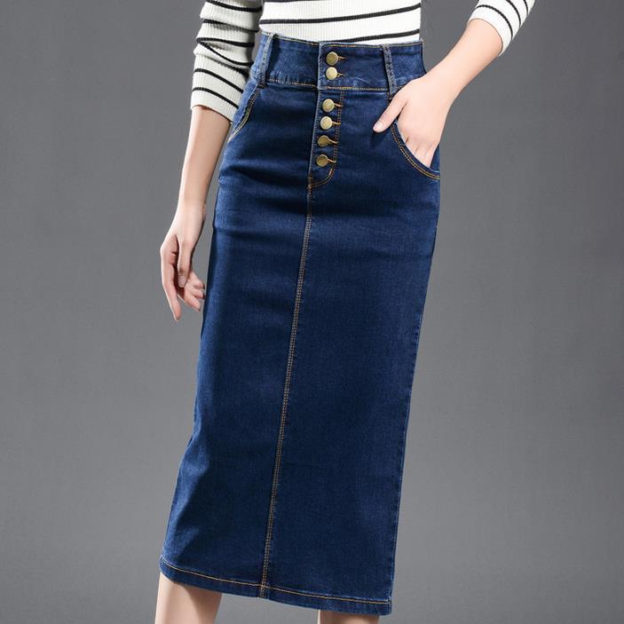 Women's New Large Size Denim Skirt Elasticity High Waist Long Skirt Split Skirt 7xl