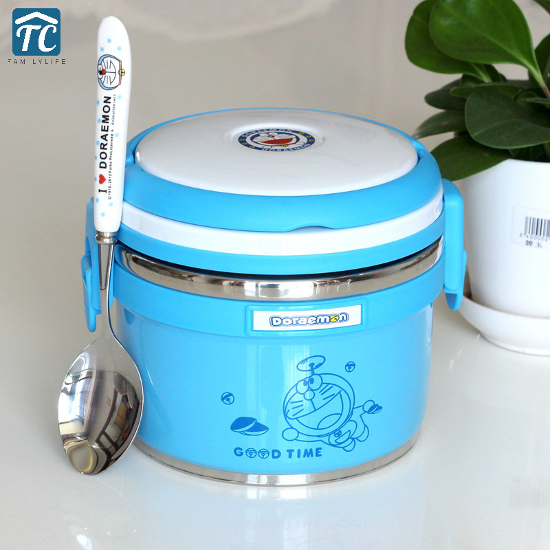 Stainless Steel Insulated Lunch Box Doraemon Double Layer Separated Children Student Large Capacity Storage Food ContainerStainless Steel Insulated Lunch Box Doraemon Double Layer Separated Children Student Large Capacity Storage Food Container