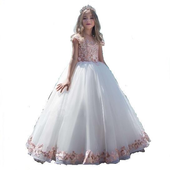Girls Wedding Formal Dresses 2018 Korean Summer Lace Gauze Gowns Flowers Girls Princess Dress Long Kids Birthday Prom Dress
