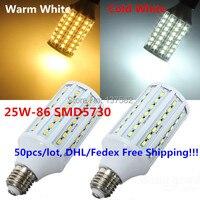 Заводская распродажа 50 шт. 25 Вт свет 86 SMD5730 люменов светодиодные лампы AC110V/220 В теплый белый /холодный белый 360 градусов Светодиодная