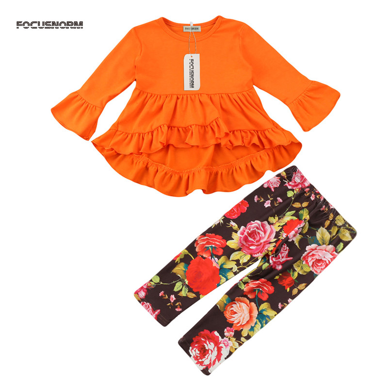 2pcs Baby Girl Clothes Autumn Infant Baby Girl Clothes Set Orange Top Shirt Floral Leggings Pants
