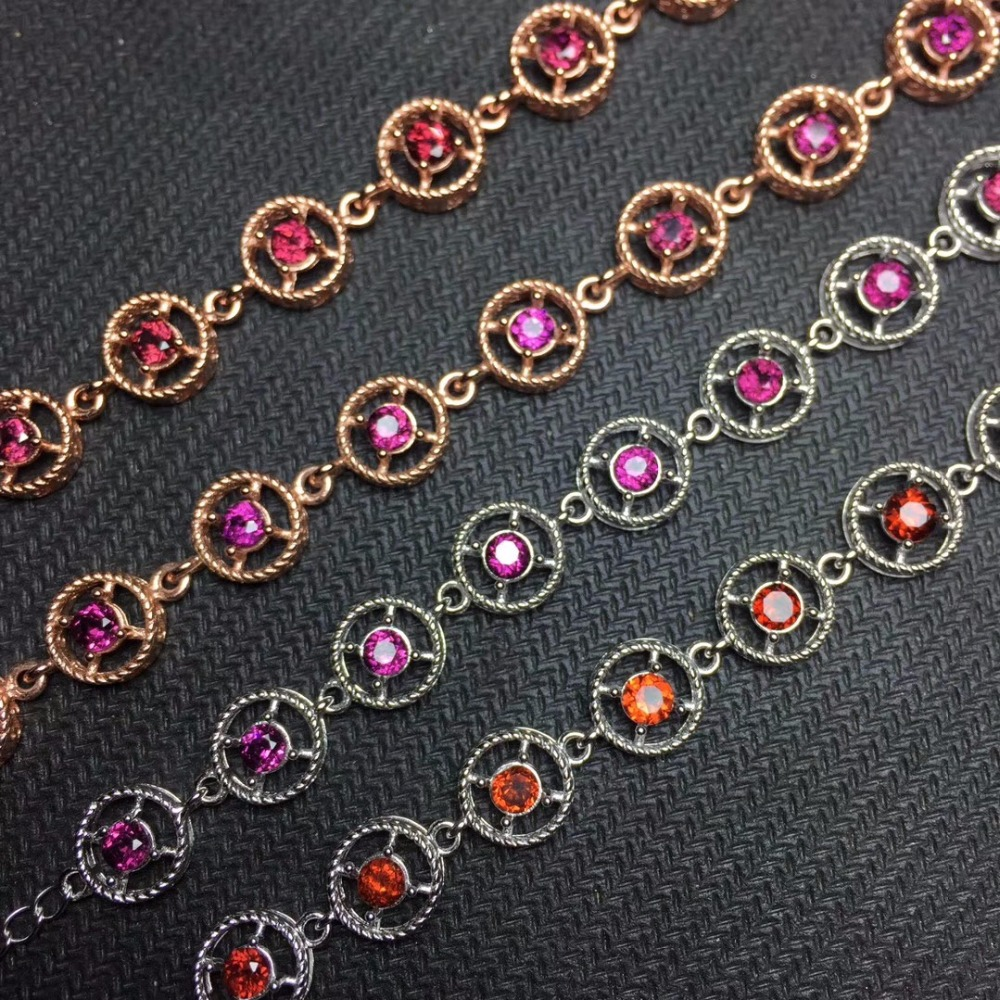 Natural garnet bracelet wholesale, 925 silver, simple style, beautiful wearing effectNatural garnet bracelet wholesale, 925 silver, simple style, beautiful wearing effect