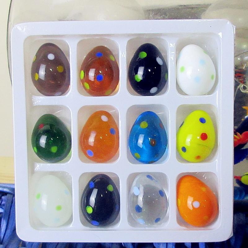 12pcs Custom Murano Hand   High Quality Glass Egg Small Sculpture Fairy Garden Decoration Glass Art Accessories Easter Eggs