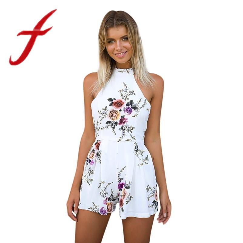 Womens Jumpsuit Holiday Boho Beach Off Shoulder Floral Print Holiday Mini Playsuit Ladies Shorts Jumpsuit Combinaison Femme #t Women's Clothing