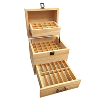 Natural Pine Wood Square Wood BOX FOR SPA YOGA Club Aromatherapy Essential Oil Bottles 5ml 10ml 15ml 59 Holes Cosmetics Medicine