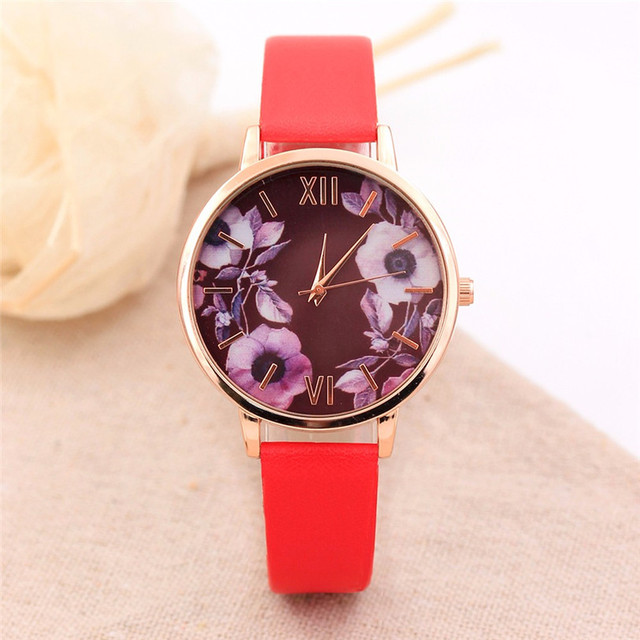 Women Fashion Color Strap Digital Dial Leather Band Quartz Analog Wrist Watches