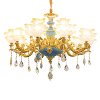 유럽 스타일 매달려 램프 전체 집 패키지 조합 분위기 럭셔리 침실 레스토랑 프랑스어 합금 크리스탈 샹 들리