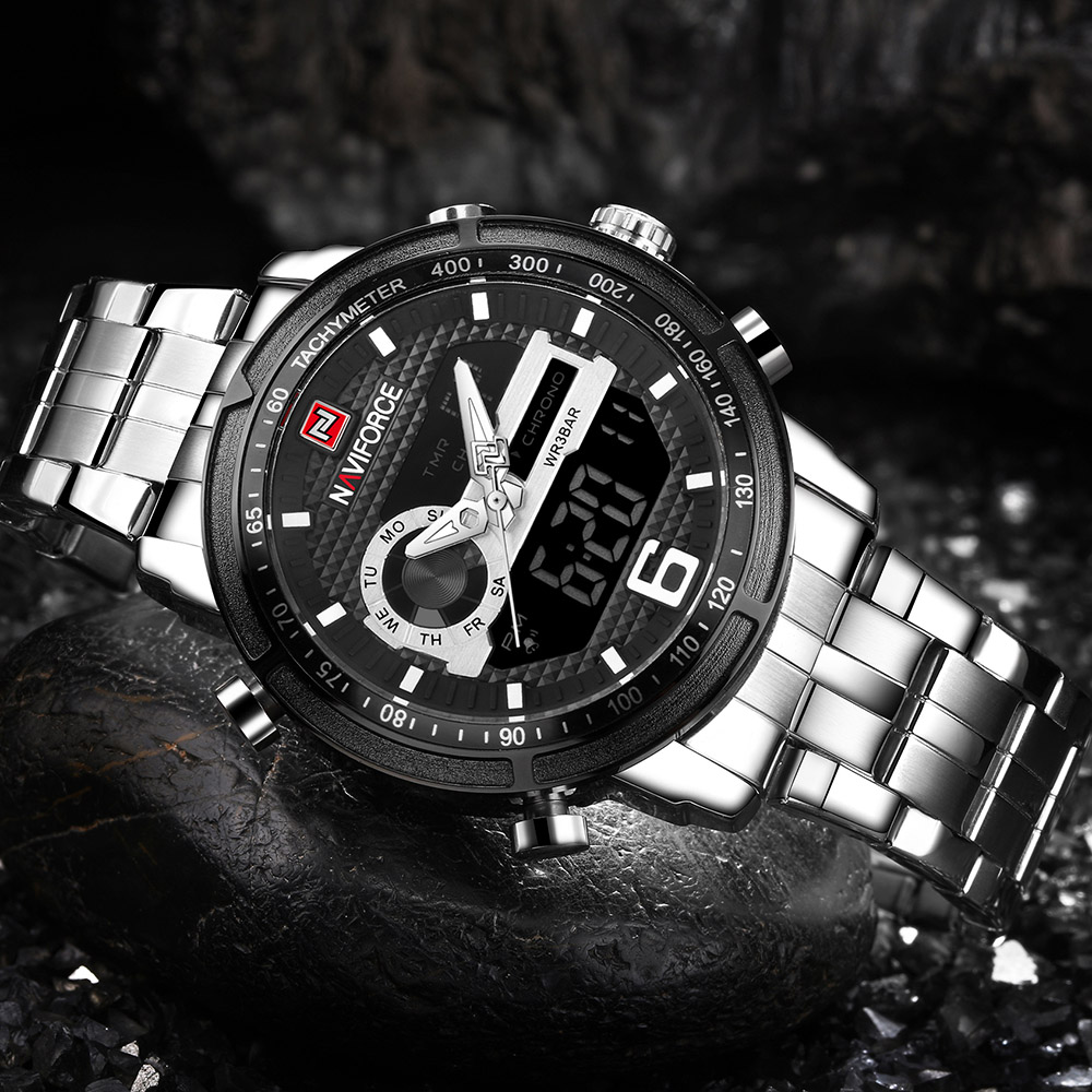 NAVIFORCE Quartz Wristwatch Mens Watches Top Brand Luxury Sport Military Watch Men Clock Male Steel Waterproof relogio masculino sinobi mens military watches luxury quartz watch men clock silicone strap sport watches male wristwatch waterproof reloj hombre